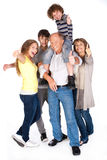 Thumbs-up family posing in style Stock Photo