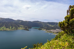 Thumbs up in front of Lagoa Azul, Sao Miguel, Azores, Portugal Royalty Free Stock Images