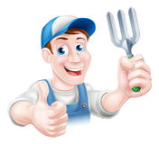 Thumbs up Gardener with Fork Royalty Free Stock Photos