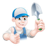 Thumbs up Gardener with Trowel Royalty Free Stock Photos