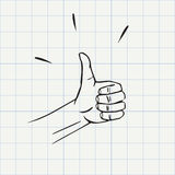 Thumbs up gesture doodle icon Royalty Free Stock Photography