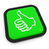 Thumbs up gesture green button. Stock Image