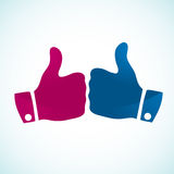 Thumbs up gesture icons. Simple Vector illustration of thumbs up gestures, symbol of acceptance, likeness or success etc Royalty Free Stock Images