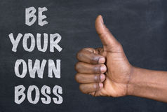 Thumbs up gesture to the phrase Be Your Own Boss Stock Photos