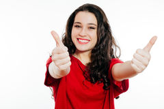 Thumbs up girl Royalty Free Stock Images