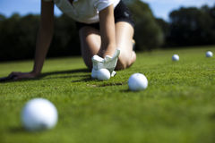 Thumbs up on golf. Bright colorful vivid theme Royalty Free Stock Photo