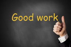 Thumbs up good work chalkboard praise. Thumbs up good work black chalkboard praise Royalty Free Stock Photography