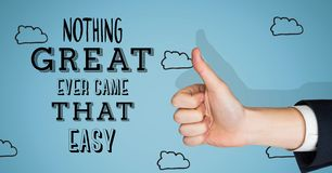 Thumbs up great things aren't easy Royalty Free Stock Photos