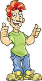 Thumbs-up Guy. The Illustration shows red-hair guy, who showing thumbs-up sign. Guy is wearing in jeans, green t-shirt and sneakers. The Illustration done in Stock Photography
