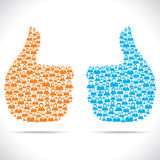Thumbs up hand design with people Stock Photo