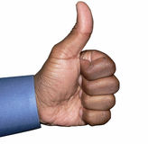 Thumbs up hand gesture isolated by clipping path. Thumbs up hand gesture royalty free stock photography