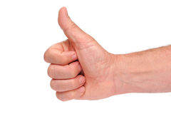 Thumbs up hand sign. Isolated on white background Stock Photo
