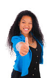 Thumbs up happy success for pretty young African American Royalty Free Stock Photography