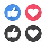 Thumbs up and heart icon in a flat design. Vector illustration.  vector illustration