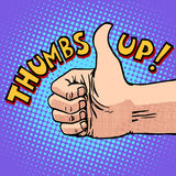 Thumbs up hitchhiking symbol and approval. Pop art retro style. Like gesture. Human hand. Optimism Stock Image