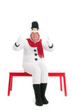 Thumbs up by human snowman Stock Images