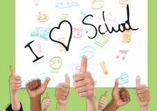 Thumbs up I love school. Digital composite of Thumbs up I love school Stock Photos