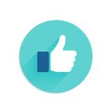 Thumbs up icon flat style Stock Images