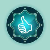 Thumbs up icon magical glassy sunburst blue button sky blue background royalty free illustration