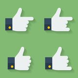 Thumbs up icon set. Flat style Stock Photos