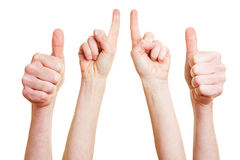 Thumbs up and index finger Stock Image