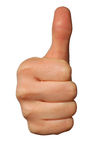 Thumbs up isolated on white stock photos