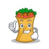 Thumbs up kebab wrap character cartoon. Vector illustration stock illustration