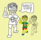 Thumbs Up Kid Line Art Royalty Free Stock Photo