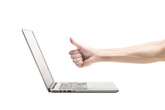 Thumbs Up with laptop Stock Photography