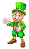 Thumbs Up Leprechaun St Patricks Day Character. Cartoon Leprechaun St Patricks Day character waving and giving a thumbs up Stock Photo