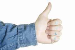 Thumbs up like gesture Stock Photography