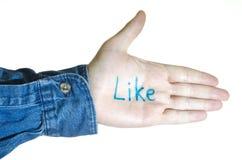 Thumbs up like gesture Stock Photo