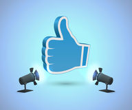 Thumbs up. Like hand above smooth surface. RGB. Vector contains transparent objects Royalty Free Stock Image