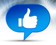 Thumbs up like icon blue bubble background royalty free illustration