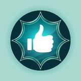 Thumbs up like icon magical glassy sunburst blue button sky blue background stock illustration