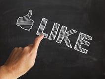 Thumbs Up Like Shows Follow Or Social Media LIkes. Thumbs Up Like Showing Follow Or Social Media LIkes Stock Photos