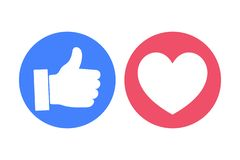 Thumbs Up and Like Social Media Icons. Thumbs Up and Like Social Media Icon Set vector illustration