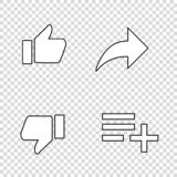 thumbs up likes with arrow and list vector illustration