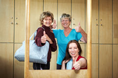Thumbs up in locker room Stock Photos