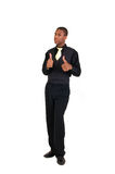 Thumbs up man. Young black man gives thumbs up sign Royalty Free Stock Images