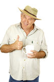 Thumbs Up Man With Coffee Royalty Free Stock Photo