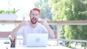 Thumbs Up by Man Sitting in Balcony of Office, Outdoor. Creative designer , businessman stock video