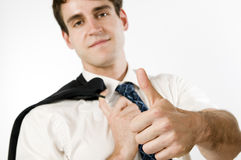 Thumbs up for man on white Royalty Free Stock Photos