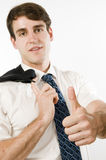 Thumbs up for manager on white Royalty Free Stock Images