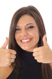 Thumbs up model vertical Stock Image
