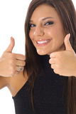 Thumbs up model vertical side Royalty Free Stock Image