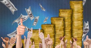 Thumbs up money growth. Digital composite of Thumbs up money growth Stock Photography