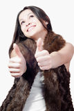 Thumbs up or Okay & Beautiful young woman isolated Stock Photos