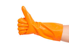 Thumbs up with a orange Stock Photo