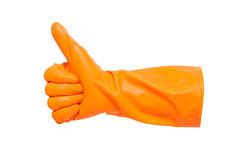 Thumbs up with a orange Stock Images